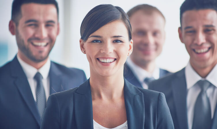 Groups of young professionals smiling